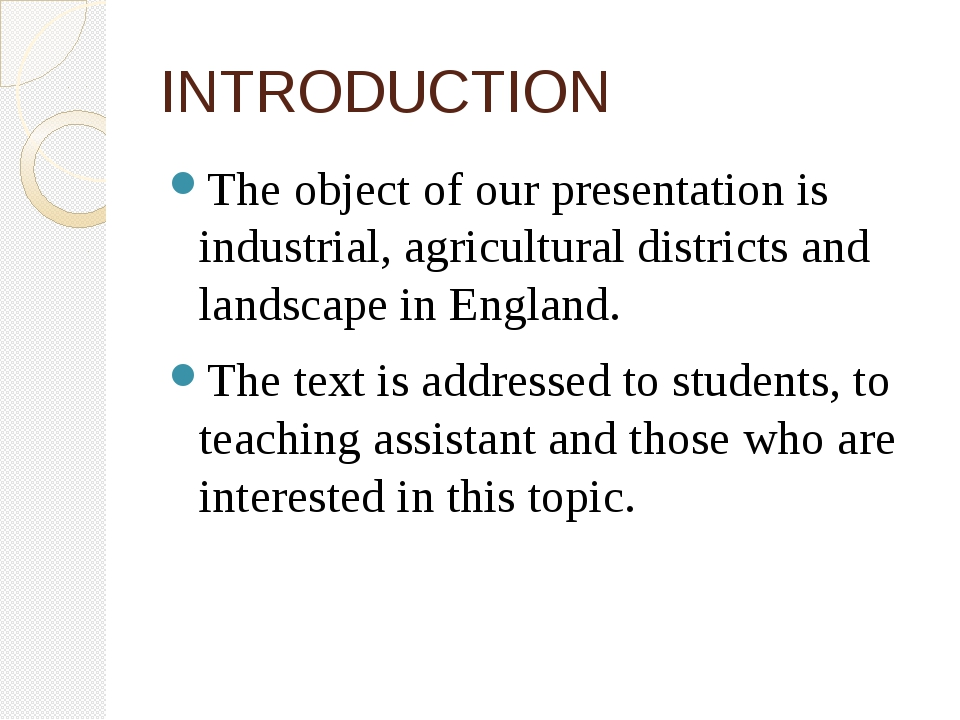 INTRODUCTION The object of our presentation is industrial, agricultural distr...