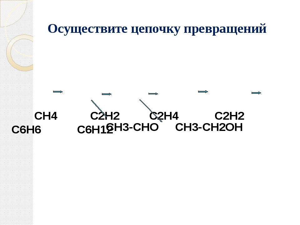 СН4 С2Н2 С2Н4 С2Н2 С6Н6 С6Н12 СН3-СНО СН3-СН2ОН Осуществите цепочку превраще...