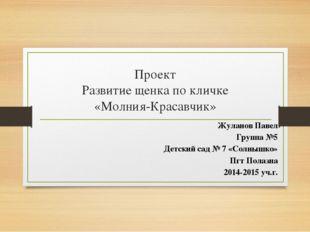 Проект Развитие щенка по кличке «Молния-Красавчик» Жуланов Павел Группа №5 Де