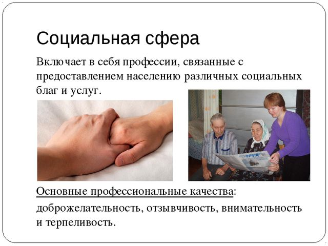 Социальная сфера Включает в себя профессии, связанные с предоставлением насел...