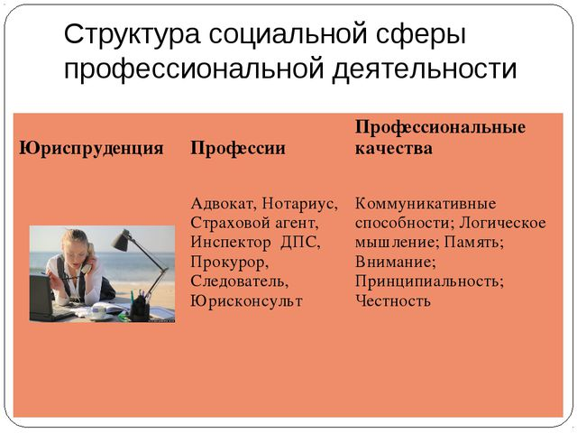 Структура социальной сферы профессиональной деятельности Юриспруденция  Проф...