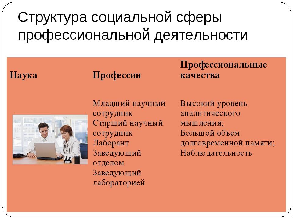 Структура социальной сферы профессиональной деятельности Наука  ПрофессииПр...
