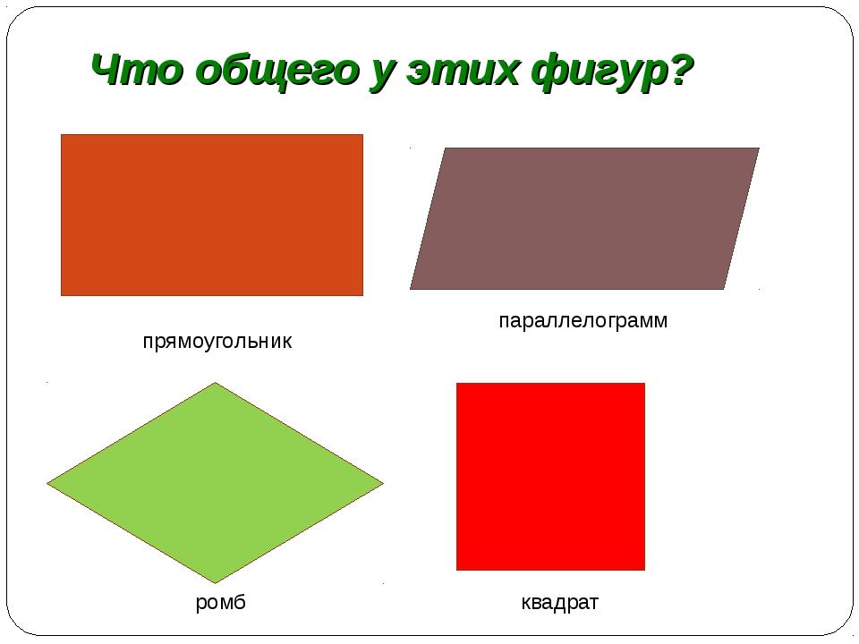 Что общего у этих фигур? прямоугольник параллелограмм ромб квадрат