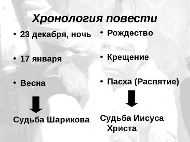 Хронология повести 23 декабря, ночь 17 января Весна Судьба Шарикова Рождество...