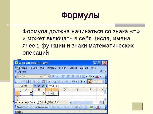 Формулы Формула должна начинаться со знака «=» и может включать в себя числа...