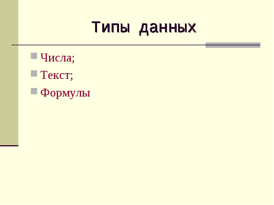 Типы данных Числа; Текст; Формулы