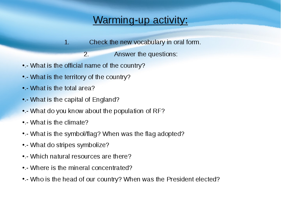Warming-up activity: Check the new vocabulary in oral form. Answer the questi...