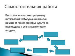 Выстройте технологическую цепочку изготовления хлебобулочных изделий, начиная