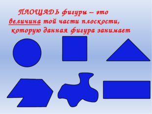 ПЛОЩАДЬ фигуры – это величина той части плоскости, которую данная фигура зан