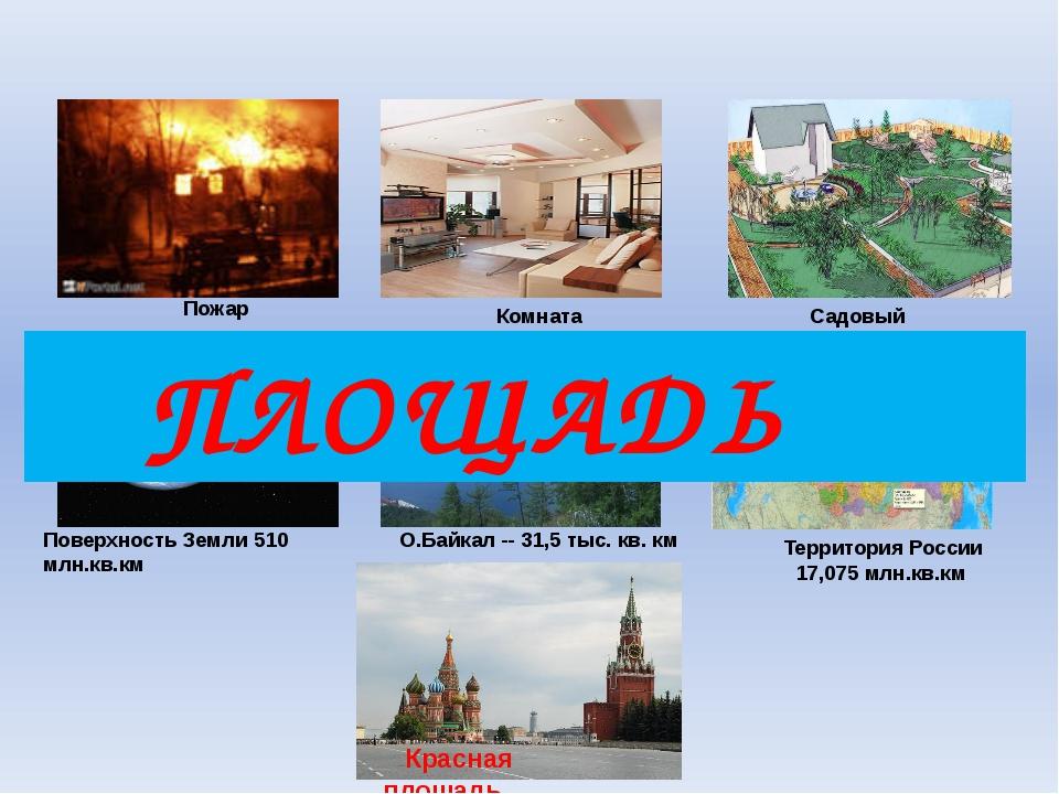 Садовый участок Комната Пожар Поверхность Земли 510 млн.кв.км О.Байкал -- 31...