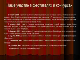 Наше участие в фестивалях и конкурсах В марте 2005 года театр выступил на Пер