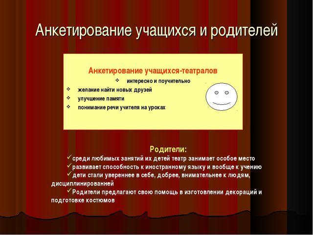 Анкетирование учащихся и родителей Анкетирование учащихся-театралов интересно...