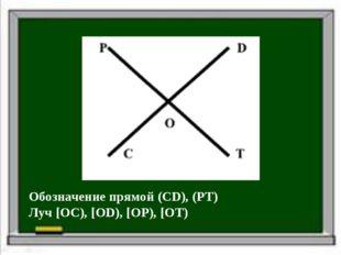 Обозначение прямой (CD), (PT) Луч [OC), [OD), [OP), [OT)