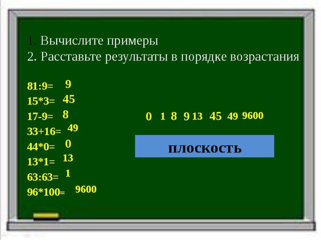 Вычислите примеры 2. Расставьте результаты в порядке возрастания 81:9= 15*3=...