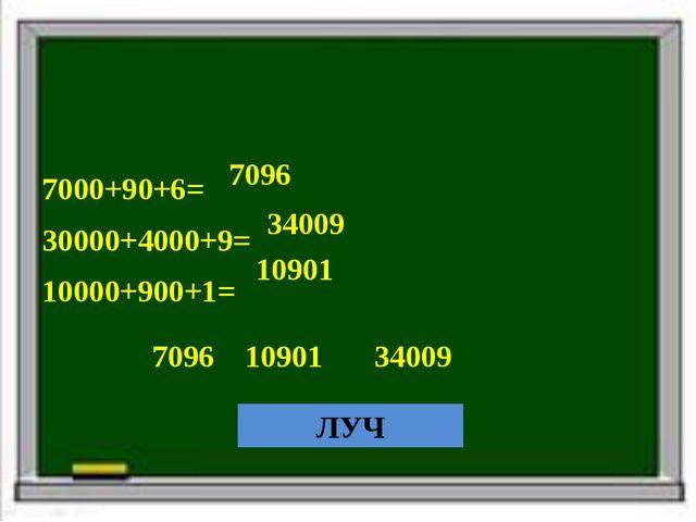 7000+90+6= 30000+4000+9= 10000+900+1= 7096 34009 10901 7096 10901 34009 ЛУЧ