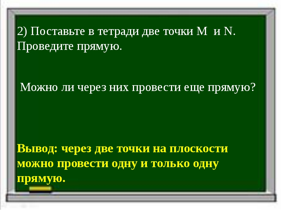 2) Поставьте в тетради две точки M и N. Проведите прямую. Можно ли через них...