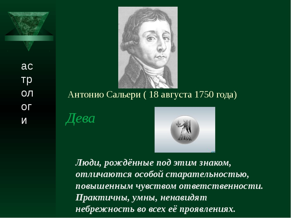 Антонио Сальери ( 18 августа 1750 года) Дева Люди, рождённые под этим знаком...