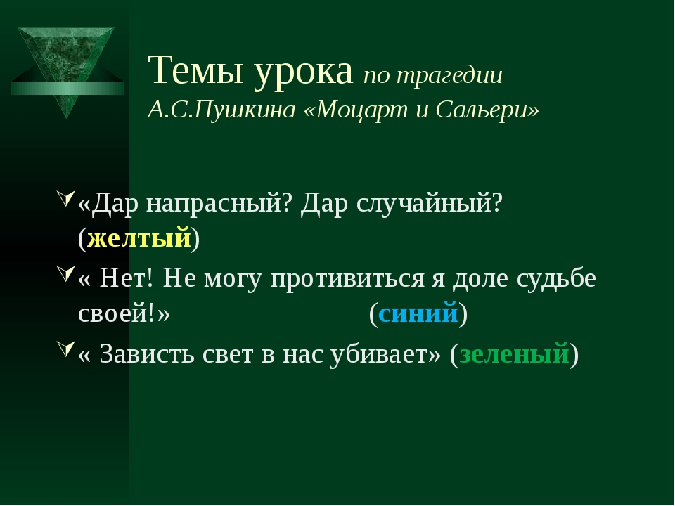Темы урока по трагедии А.С.Пушкина «Моцарт и Сальери» «Дар напрасный? Дар слу...
