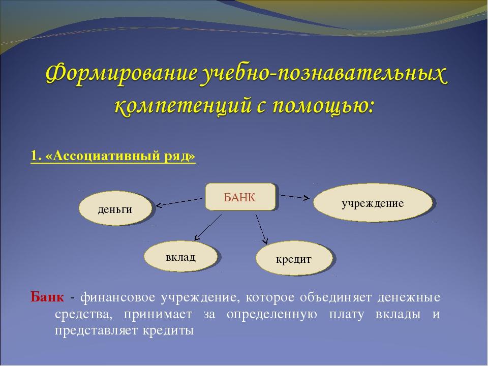 1. «Ассоциативный ряд» Банк - финансовое учреждение, которое объединяет денеж...