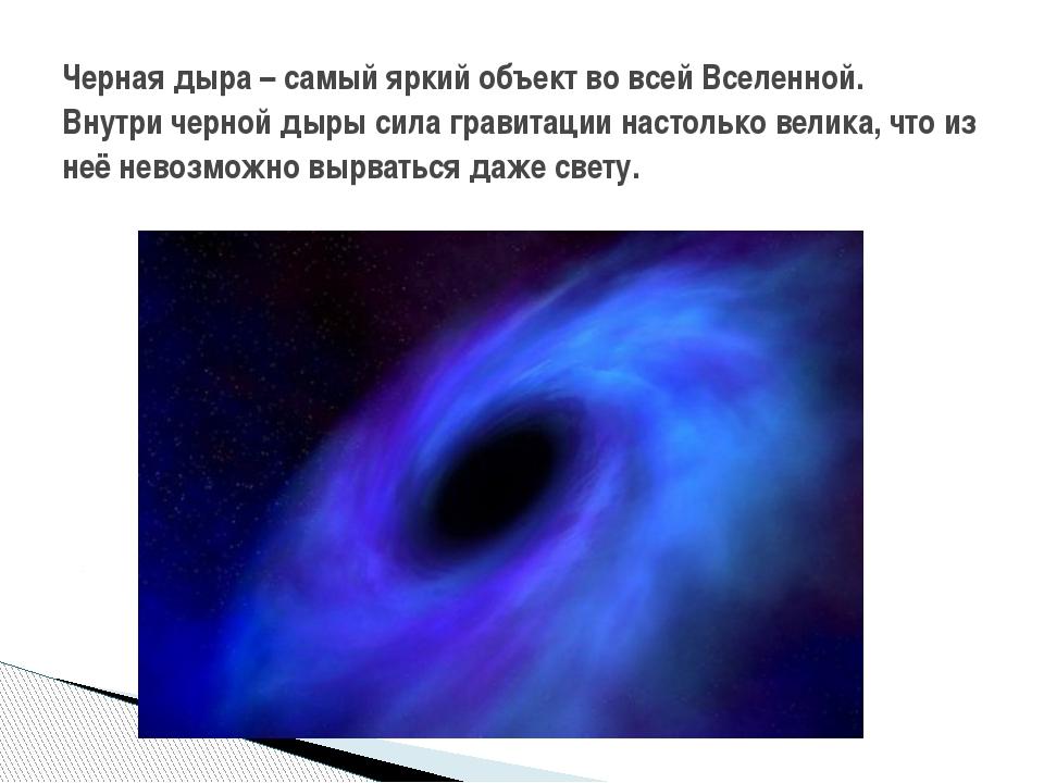 Черная дыра – самый яркий объект во всей Вселенной. Внутри черной дыры сила г...