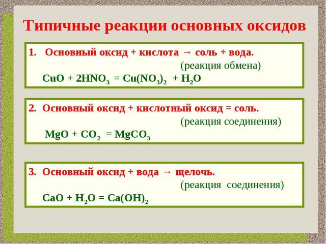 Типичные реакции основных оксидов Основный оксид + кислота → соль + вода. (ре...