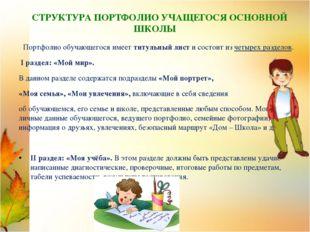 СТРУКТУРА ПОРТФОЛИО УЧАЩЕГОСЯ ОСНОВНОЙ ШКОЛЫ Портфолио обучающегося имеет ти