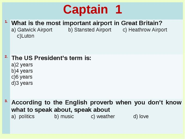 Captain 1	 1.	What is the most important airport in Great Britain? a) Gatwick...