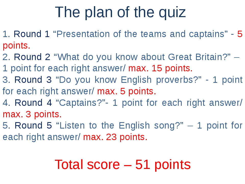 "The plan of the quiz 1. Round 1 ""Presentation of the teams and captains"" - 5..."