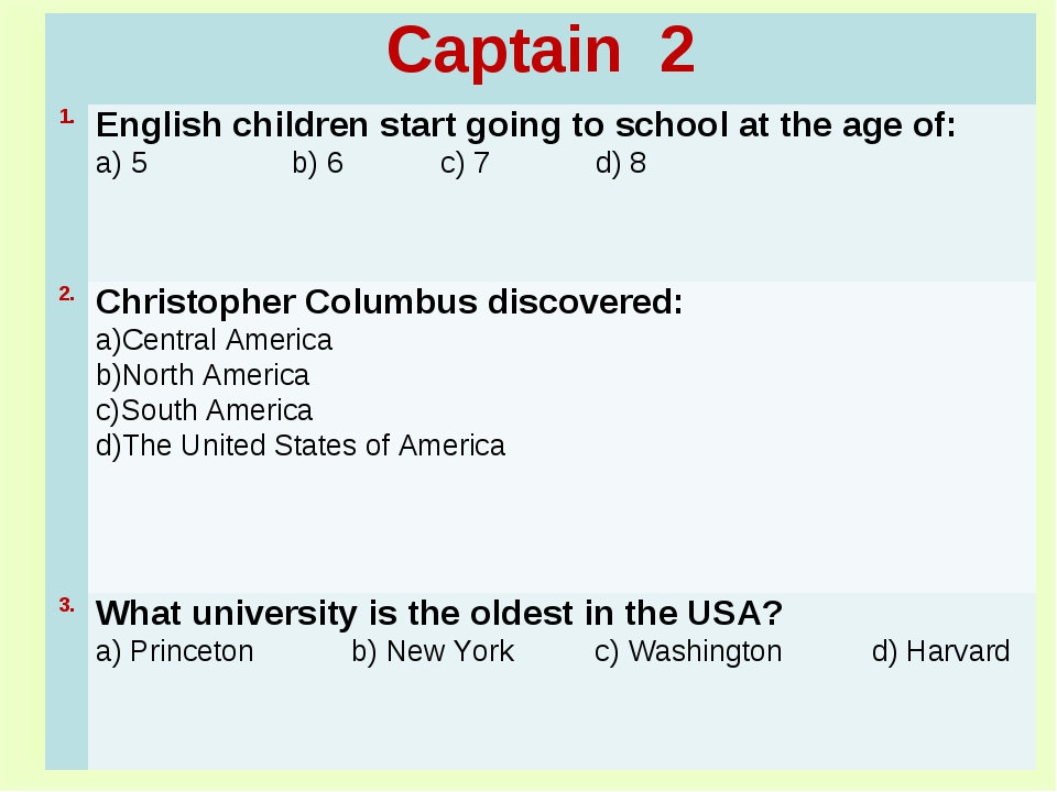 Captain 2	 1.	English children start going to school at the age of: a) 5 b) 6...