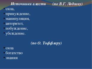 Источники власти  (по В.Г. Ледяеву) сила, принуждение, манипуляция, авторит
