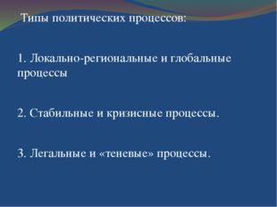 Типы политических процессов: 1. Локально-региональные и глобальные процессы