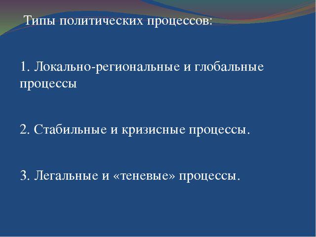 Типы политических процессов: 1. Локально-региональные и глобальные процессы...
