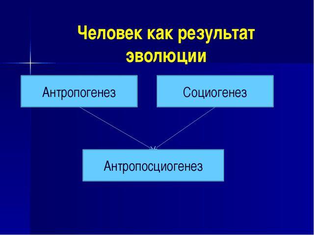 Человек как результат эволюции Антропогенез Социогенез Антропосциогенез