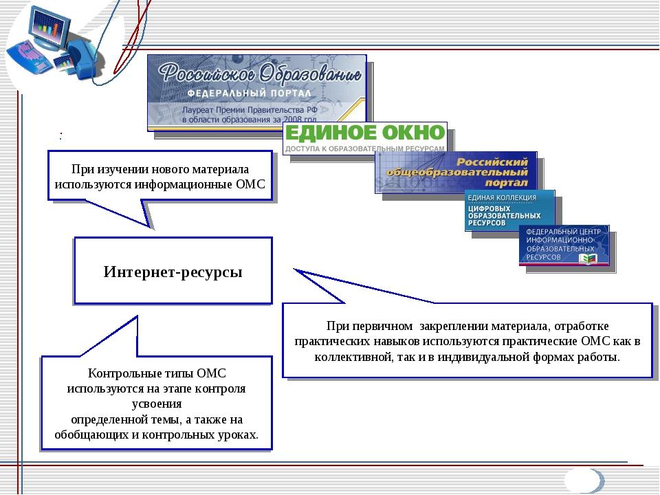 Интернет-ресурсы При изучении нового материала используются информационные ОМ...