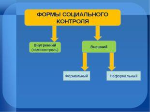 ФОРМЫ СОЦИАЛЬНОГО КОНТРОЛЯ Внутренний (самоконтроль) Внешний Формальный Нефор