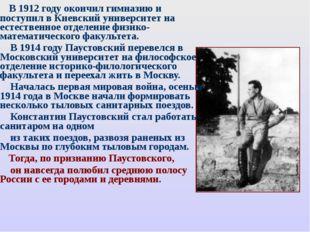 В 1912 году окончил гимназию и поступил в Киевский университет на естественн