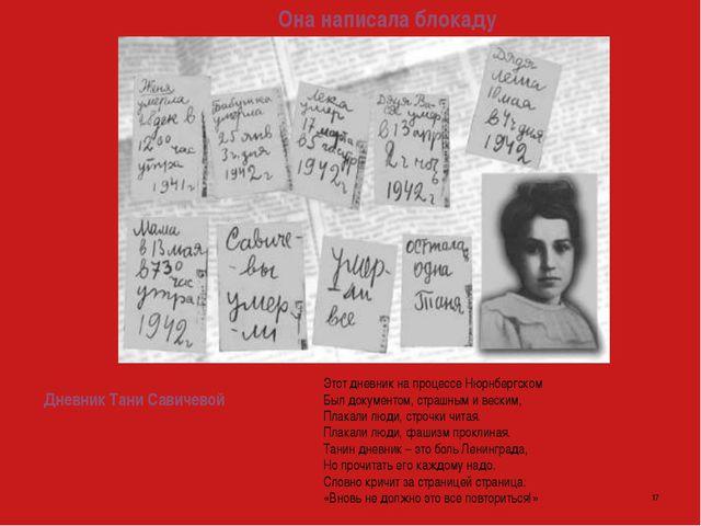 Она написала блокаду  Этот дневник на процессе Нюрнбергском Был документо...