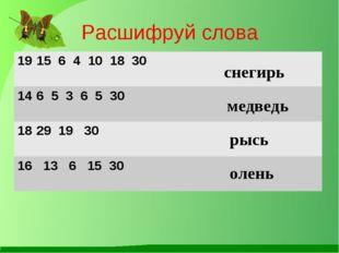 Расшифруй слова снегирь медведь рысь олень 15 6 4 10 18 30  6 5 3 6 5 30  2