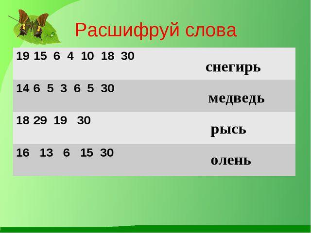 Расшифруй слова снегирь медведь рысь олень 15 6 4 10 18 30  6 5 3 6 5 30  2...