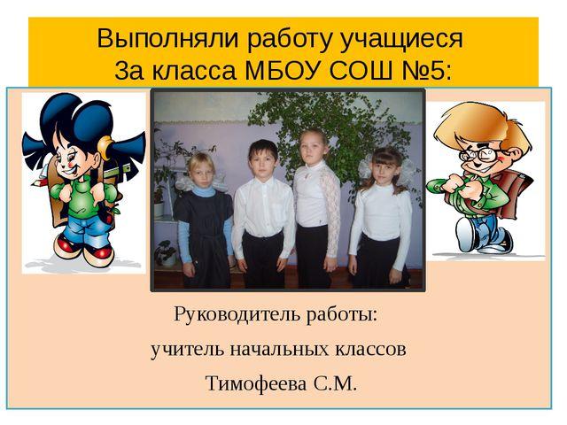 Выполняли работу учащиеся 3а класса МБОУ СОШ №5: Руководитель работы: учитель...