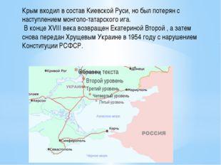 Крым входил в состав Киевской Руси, но был потерян с наступлением монголо-та