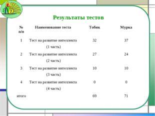 Результаты тестов № п/пНаименование тестаТобикМурка 1Тест на развитие инт