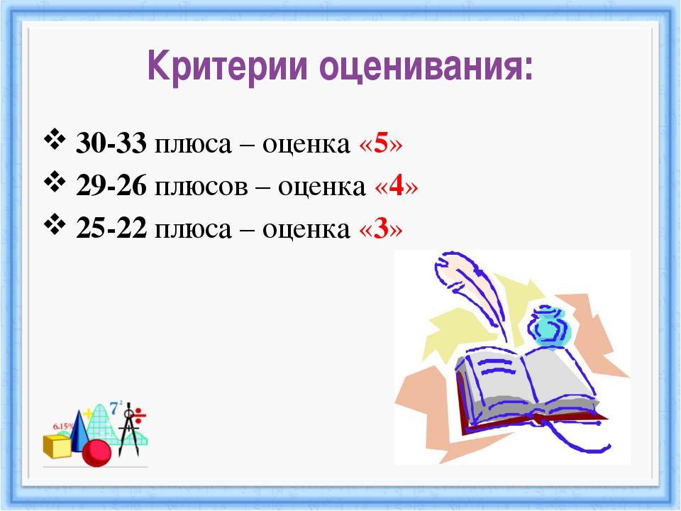Критерии оценивания: 30-33 плюса – оценка «5» 29-26 плюсов – оценка «4» 25-22...
