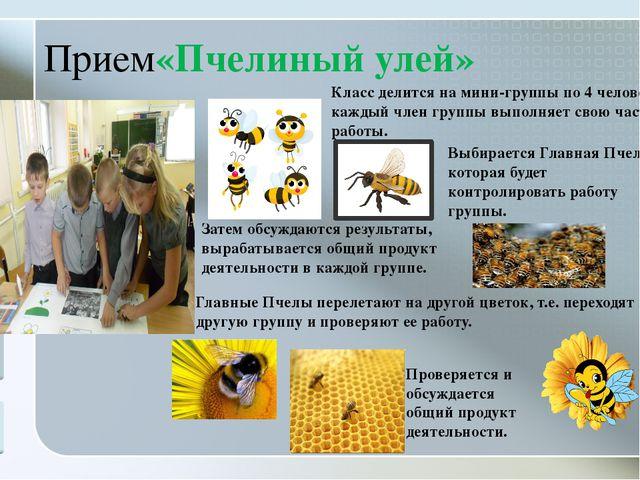 Прием«Пчелиный улей» Класс делится на мини-группы по 4 человека, каждый член...