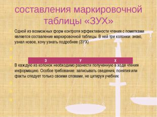 составления маркировочной таблицы «ЗУХ» Одной из возможных форм контроля эффе