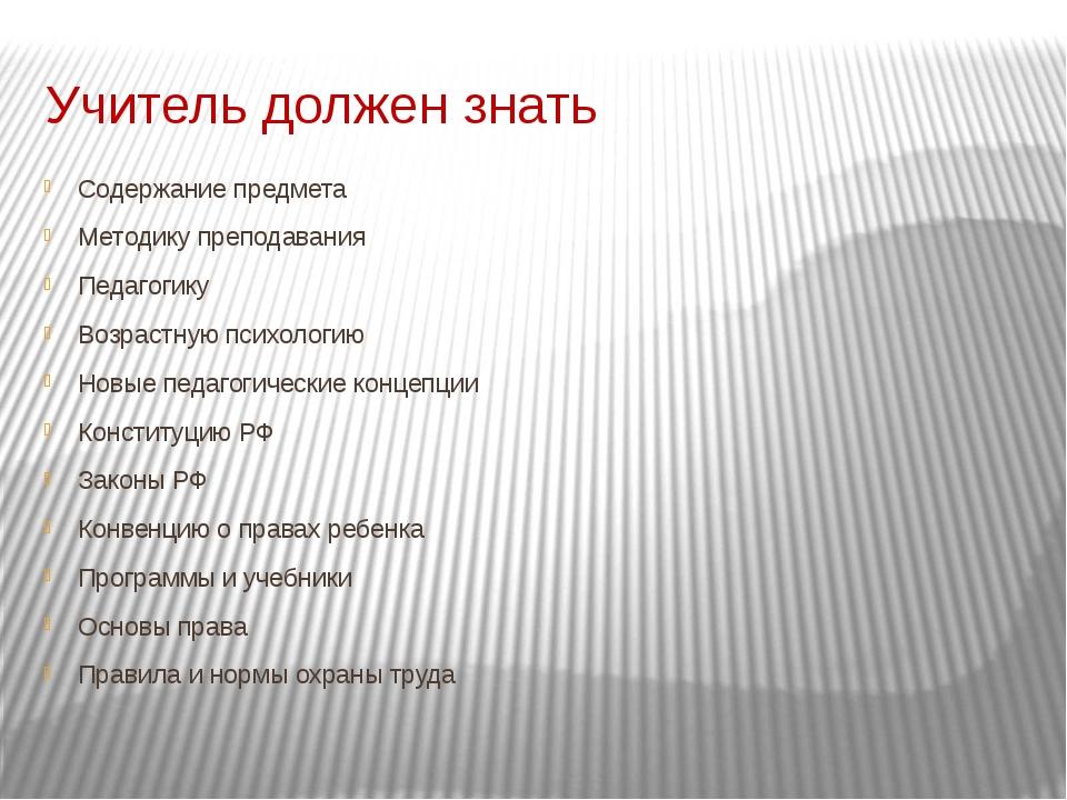 Учитель должен знать Содержание предмета Методику преподавания Педагогику Воз...