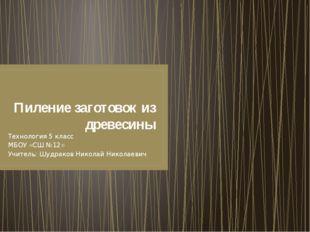 Пиление заготовок из древесины Технология 5 класс МБОУ «СШ №12» Учитель: Шудр