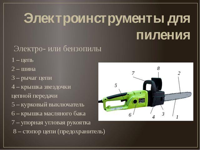 Электро- или бензопилы Электроинструменты для пиления 1 – цепь 2 – шина 3 – р...
