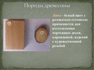Липа - белый цвет с розоватым оттенком; применяется для изготовления чертежны