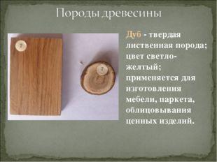 Дуб - твердая лиственная порода; цвет светло-желтый; применяется для изготовл